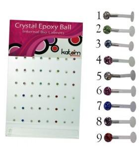 Expositor piercing labio color con resina - MDN7054