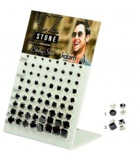 Expositor Pendientes plata con cristal negro -PEN151MIX