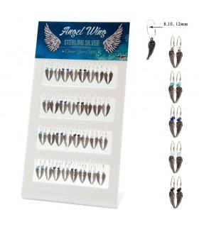 Expositor aros de plata con colgante de alas-WHA1