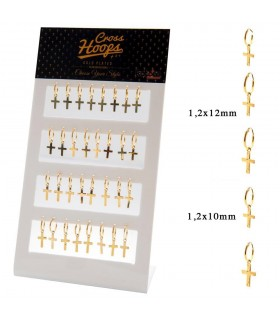Golden silver hoops with cross display - GHSCR