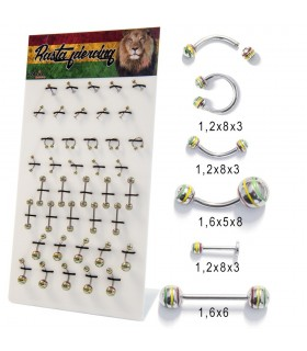 Expositor piercing mix rasta - BEL054A
