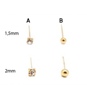 Piercing nose ball gold and glass - DNS107