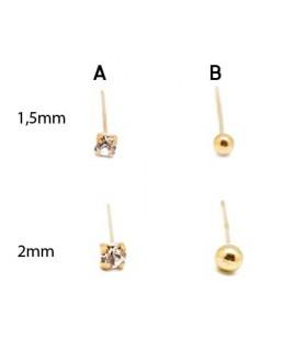 Piercing nariz - Dorado bola y cristal - DNS107