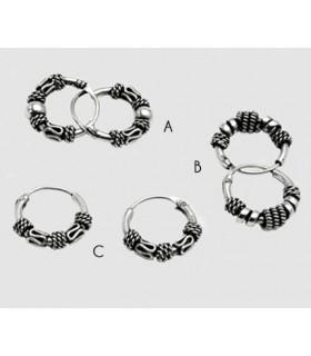 Hoops Bali silver carved - Aro27D
