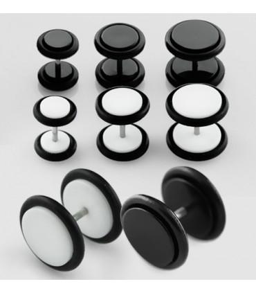 Falsa dilatación Acrílico blanco y negro 6-10mm - IP1086DBN