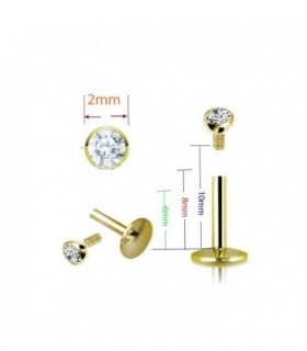 Labret gold with 2mm crystal stone-MDN7007GOLD