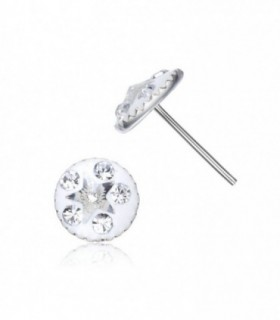 Stud earring white color with white star crystal -PEN1122WHITE