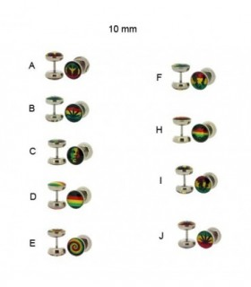 Rasta symbols steel illusion plug -IP1077D