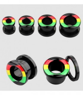 Ear plug colors Rasta - acrylic - EP2266