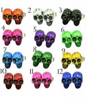 Skull stud earrings 8mm-PEN266D