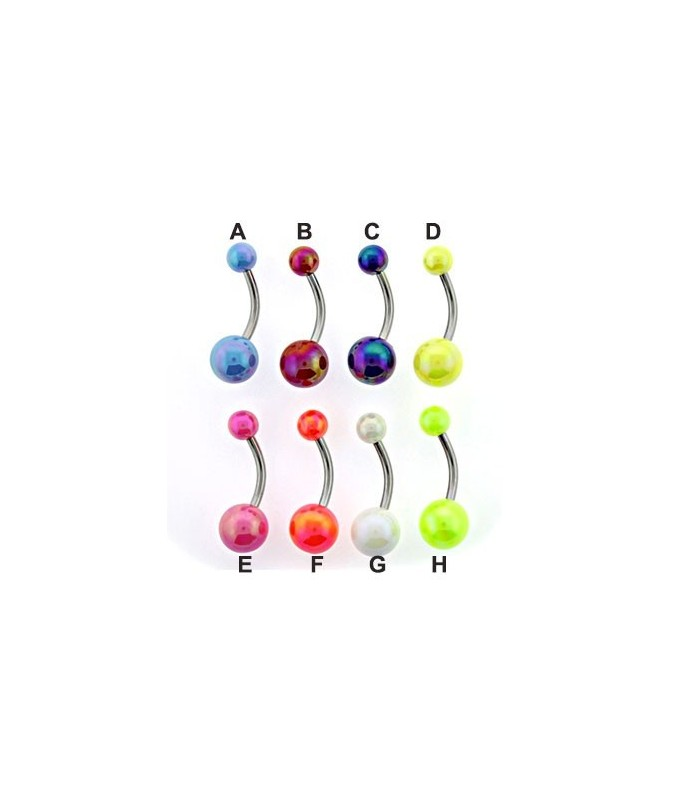 Navel piercing steel and acrylic. Colors - BEL88AD