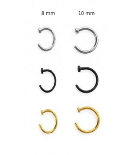 Hoops steel, noir, gold, with stop. -  ARN109D
