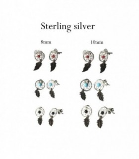 Silver dream catcher stud earrings -ASP2