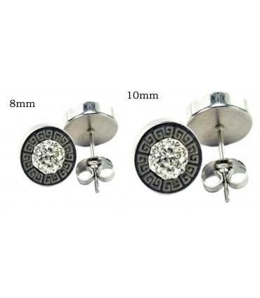 steel earrings with glitter - STD4591D