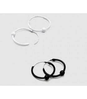 Aros de plata en blanco y negro con bola - ARO4D