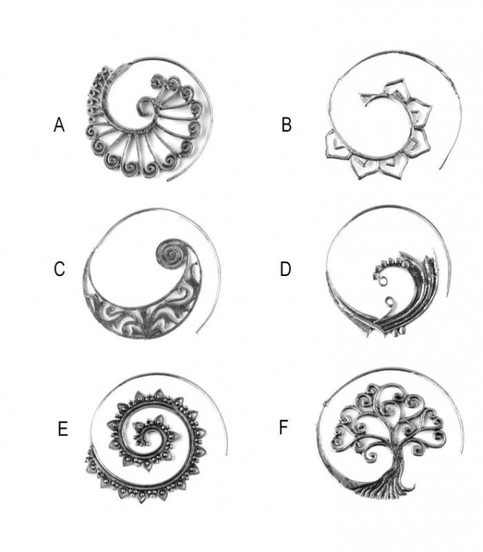 Pendientes boho espiral plateado - BESSD