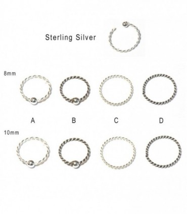 Silver braid nose ring - ARN114D