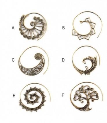 Boucle d'oreille dorée spirale boho - BESGD