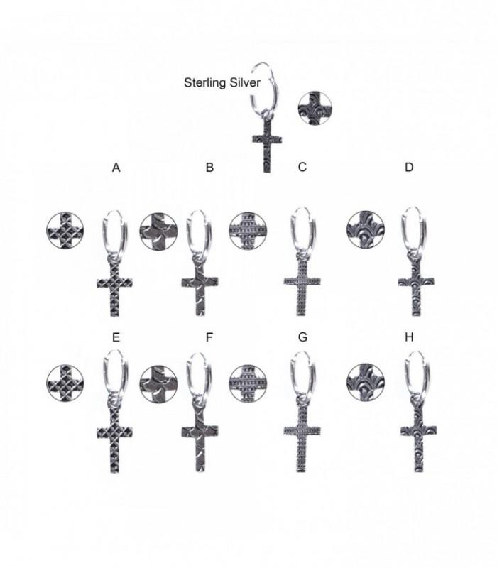 Aro plata cruz con diseño - HSCRDD