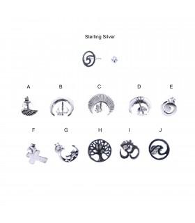 Symbols silver earring - PEN907D