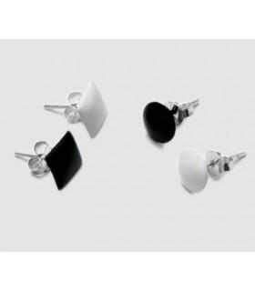 Pendientes de plata redondo y cuadrado PEN410D