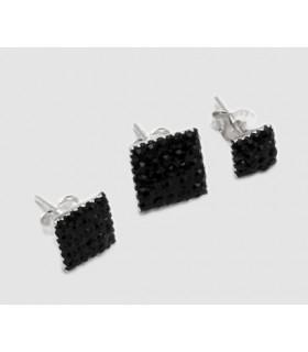 Pendientes plata y swarovski - Negro - PEN201D