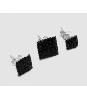 Earrings silver and black swarovski - PEN201D