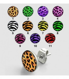 Steel earrings - Leopard & Zebra - PEN80D