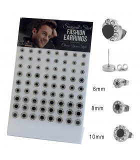 Steel earrings with black center display - STD4594