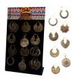 Golden ethnic earrings display - BEG