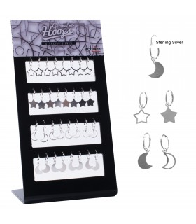 Moon and star silver hoops - SMHOOPS