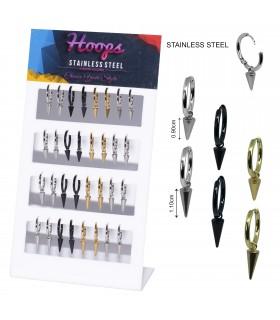 Steel hoops with conus pendant - HAGS5094