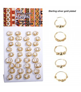 Gold platted Silver engraved hoops  - ARO27GOLD