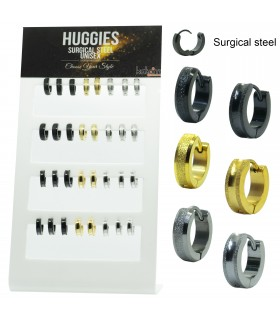 Steel Carved Frekle Huggies 3 colors - HAGS5031