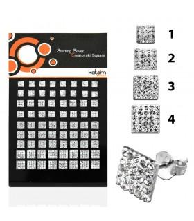 Exhibitor silver square swarovski earrings - PEN200