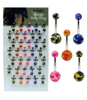 Expositor piercing de Ombligo con bola colores - BEL095
