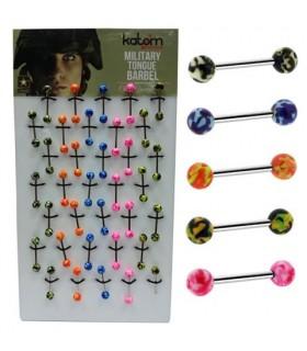 Expositor piercing de lengua con bola colores - BEL096