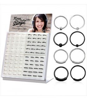 Display nose hoop silver with ball or locking - ARN104