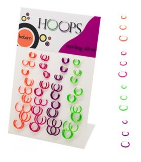 Display Silver Hoops Bright colors - ARO08