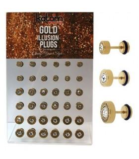 Expositor Falsa dilatación dorada con Cristal - IP1089GOLD