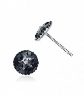 Pendientes plata color negro con estrella de cristal-PEN1122