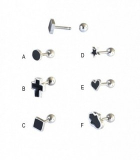 Black enamailed tragus- HEL-CAR13D