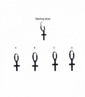 Aro de plata negro colgante cruz - HSCRBD