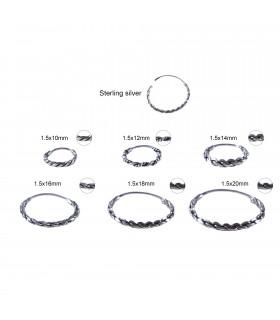 Braided silver Bali hoop - ARO813D